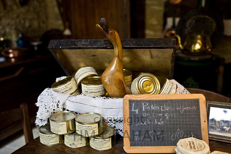 Foie gras and other farm products in kilner preserving jars on sale at Charnaillas Farm, La Ferme de Charnaillas, Dordogne, France