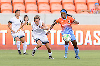 Houston, TX - Saturday July 16, 2016: Emily Menges, Chioma Ubogagu during a regular season National Women's Soccer League (NWSL) match between the Houston Dash and the Portland Thorns FC at BBVA Compass Stadium.