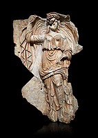 Roman SSebasteion relief sculpture of the goddess Herma (day), Aphrodisias Museum, Aphrodisias, Turkey.  Against a black background.<br /> <br /> Goddess  Herma or Day steadies a dramatically billowing cloak that frames her head. The motif , also visible on the Okeanos relief, indicates flying, floating and divine epiphany - the appearance of gods to mortals. Day would be paired with night : together they signify the eternity of the Roman imperial order.