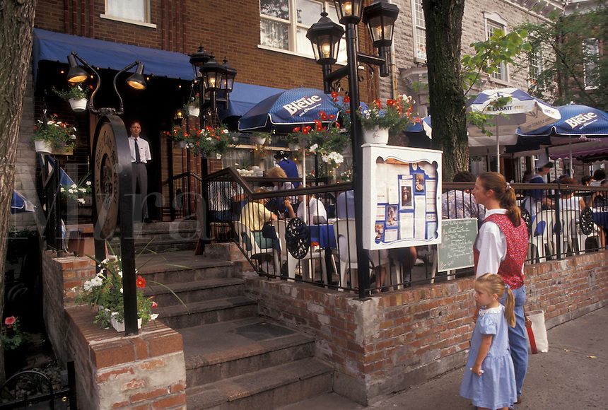 outdoor cafe, Quebec City, Canada, Quebec, Cafes along Grande Allee Est in Quebec City in Quebec.