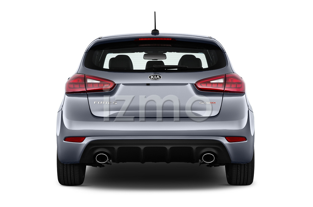 Straight rear view of 2017 KIA Forte5 SX 5 Door Hatchback Rear View  stock images