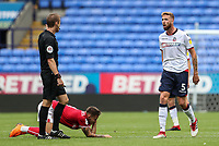 Bolton Wanderers' Mark Beevers remonstrates with referee John Brooks<br /> <br /> Photographer Andrew Kearns/CameraSport<br /> <br /> The EFL Sky Bet Championship - Bolton Wanderers v Bristol City - Saturday August 11th 2018 - University of Bolton Stadium - Bolton<br /> <br /> World Copyright &copy; 2018 CameraSport. All rights reserved. 43 Linden Ave. Countesthorpe. Leicester. England. LE8 5PG - Tel: +44 (0) 116 277 4147 - admin@camerasport.com - www.camerasport.com