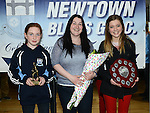 Under 12 girls player of the year Eva Cummins, team manager Margaret Phillips and Team captain Kara Dowling at the Newtown Blues juvenile awards presentations held in the Barbican Centre. Photo:Colin Bell/pressphotos.ie