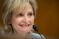 United States Senator Cindy Hyde-Smith (Republican of Mississippi) questions Comptroller General of the United States Government Accountability Office Gene Dodaro and Director of the Congressional Budget Office Keith Hall on Capitol Hill in Washington DC on April 10, 2019.<br /> Credit: Stefani Reynolds / CNP/AdMedia
