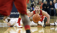 Maryland forward Evan Smotrycz (1) and Virginia forward Akil Mitchell (25) look for the loose ball during the game Monday night in Charlottesville, VA. Photo/The Daily Progress/Andrew Shurtleff
