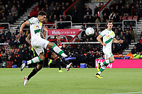Ben Godfrey of Norwich City clears the ball away from Callum Wilson of Bournemouth  during AFC Bournemouth vs Norwich City, Caraboa Cup Football at the Vitality Stadium on 30th October 2018