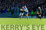 Kerry Kevin McCarthy and Gavin Doogan  Monaghan compete for the ball  during their NFL clash in Fitzgerald Stadium on Sunday