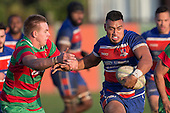 Ngataua Hukatai has pleanty of support as he makes a strong run upfield for Ardmore Marist. Counties Manukau Premier Club Rugby game between Waiuku and Ardmore Marist, played at Waiuku on Saturday June 4th 2016. Ardmore Marist won 46 - 3 after leading 39 - 3 at Halftime. Photo by Richard Spranger.