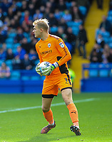Barnsley's goalkeeper Adam Davies (1) collects the ball during the Sky Bet Championship match between Sheff Wednesday and Barnsley at Hillsborough, Sheffield, England on 28 October 2017. Photo by Stephen Buckley / PRiME Media Images.