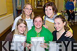 HAPPY DAYS: Marian O'Donoghue, Elaine Culloty, Eileen Counihan, Kayte O'Malley and Maeve Prendiville, happy with their Leaving Cert results at the Presentation Secondary School, Tralee, on Wednesday.