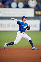 Tulsa Drillers shortstop Tim Locastro (15) throws to first base during a game against the Corpus Christi Hooks on June 3, 2017 at ONEOK Field in Tulsa, Oklahoma.  Corpus Christi defeated Tulsa 5-3.  (Mike Janes/Four Seam Images)