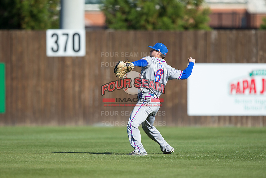 Louisiana Tech Bulldogs left fielder J.D. Perry (6) throws the ball back to the infield during the game against the Charlotte 49ers at Hayes Stadium on March 28, 2015 in Charlotte, North Carolina.  The 49ers defeated the Bulldogs 9-5 in game two of a double header.  (Brian Westerholt/Four Seam Images)
