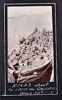 BNPS.co.uk (01202 558833)<br /> Pic: C&T/BNPS<br /> <br /> The arrival of the RNAS in Gallipoli in April 1915.<br /> <br /> Never before seen photos of the disastrous Gallipoli campaign have come to light over a century later.<br /> <br /> The fascinating snaps were taken by Sub Lieutenant Gilbert Speight who served in the Royal Naval Air Service in World War One.<br /> <br /> They feature in his photo album which covers his eventful war, including a later stint in Egypt.<br /> <br /> There are dramatic photos of the Allies landing at X Beach, as well as sobering images of a mass funeral following the death of 17 Brits. Another harrowing image shows bodies lined up in a mass grave.<br /> <br /> The album, which also shows troops during rare moments of relaxation away from the heat of battle, has emerged for sale with C & T Auctions, of Ashford, Kent. It is expected to fetch £1,500.