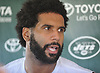 Austin Seferian-Jenkins #88 of the New York Jets speaks with the media after the second day of team training camp held at Atlantic Health Jets Training Center in Florham Park, NJ on Sunday, July 30, 2017.
