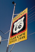 Sign for the Route 66 Club Cafe pays homage to historic old US Route 66. nostalgia, americana, roadways, advertising, highways. New Mexico.