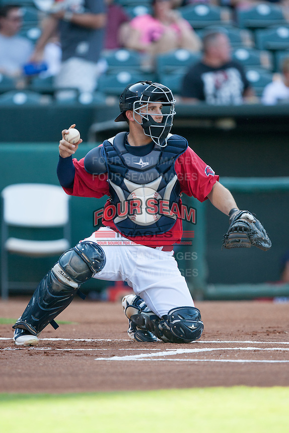 Oklahoma City RedHawks catcher Ryan McCurdy (3) behind the plate at the Chickasaw Bricktown Ballpark during the Pacific League game against the Colorado Springs Sky Sox on August 3, 2014 in Oklahoma City, Oklahoma.  The RedHawks defeated the Sky Sox 8-1.  (William Purnell/Four Seam Images)