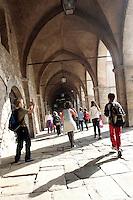 Uno scorcio di Piazza Cittadella, a Bergamo.<br /> Street scene in Piazza Cittadella, downtown Bergamo.<br /> UPDATE IMAGES PRESS/Riccardo De Luca
