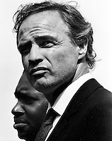 Actor Marlon Brando at a Black Panther rally at Lakeside Park in Oakland, Ca. Brando supported the .black militant's cause. (1968 photo by Ron Riesterer)copyright@2014