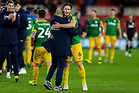 Preston North End's Ben Davies hugs Alex Neil after the match<br /> <br /> Photographer Alex Dodd/CameraSport<br /> <br /> The EFL Sky Bet Championship - Middlesbrough v Preston North End - Wednesday 13th March 2019 - Riverside Stadium - Middlesbrough<br /> <br /> World Copyright &copy; 2019 CameraSport. All rights reserved. 43 Linden Ave. Countesthorpe. Leicester. England. LE8 5PG - Tel: +44 (0) 116 277 4147 - admin@camerasport.com - www.camerasport.com
