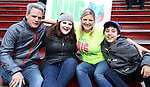 Michael Park, Ryann Redmond and Laura Heywood, aka @BroadwayGirlNYC, and Anthony Rosenthal attend Big Hug Day: Broadway comes together to spread kindness and raise funds for Children's Hospitals on January 21, 2018 at Duffy Square, Times Square in New York City.