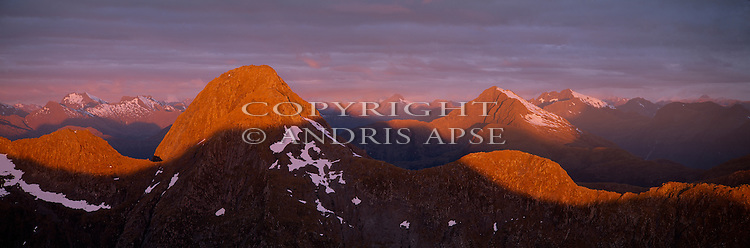 Sunset from Mount Crowfoot, Fiordland National Park. New Zealand.