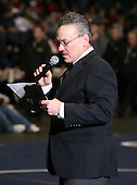 A speech before the NY State Wrestling Championship finals at Blue Cross Arena on March 9, 2008 in Rochester, New York.  (Copyright Mike Janes Photography)