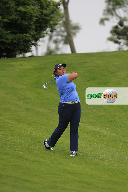 Mariel Galdiano on the 14th during the Friday morning Foursomes of the 2016 Curtis Cup at Dun Laoghaire Golf Club on Friday 10th June 2016.<br /> Picture:  Golffile | Thos Caffrey