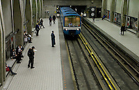 A metro train is entering the green line Peel station in Montreal November 3, 2008. The Montreal Metro is a rubber-tired metro system and incorporates 68 stations on four lines measuring 65.33 km (40.59 mi) in length