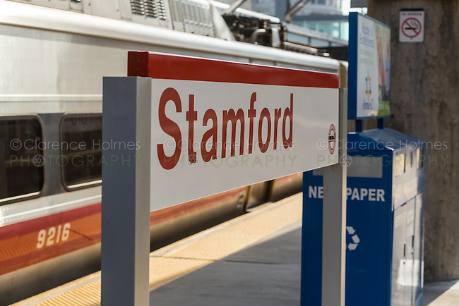 A Metro-North New Haven line commuter train awaits departure from Stamford Station in Stamford, Connecticut.