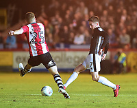 Lincoln City's Tom Pett vies for possession with Exeter City's Jake Taylor<br /> <br /> Photographer Andrew Vaughan/CameraSport<br /> <br /> The EFL Sky Bet League Two Play Off Second Leg - Exeter City v Lincoln City - Thursday 17th May 2018 - St James Park - Exeter<br /> <br /> World Copyright &copy; 2018 CameraSport. All rights reserved. 43 Linden Ave. Countesthorpe. Leicester. England. LE8 5PG - Tel: +44 (0) 116 277 4147 - admin@camerasport.com - www.camerasport.com