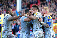 Anthony Watson of Bath Rugby celebrates his second half try with team-mates. Aviva Premiership match, between Gloucester Rugby and Bath Rugby on October 1, 2016 at Kingsholm Stadium in Gloucester, England. Photo by: Patrick Khachfe / Onside Images