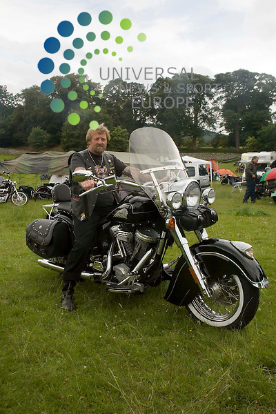 "Old Indians Never Die Motorcycle Rally, Traquair House, Innerleithen, Scotland..Clive ""Snowy"" Inglis from Cam, Gloucestershire, England on board his 2002 Indian Chief de Luxe.Picture by Jim Carroll, taken 24/07/09"