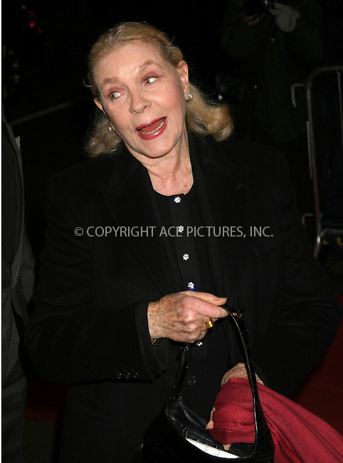 WWW.ACEPIXS.COM . . . . . ....NEW YORK, JANUARY 9, 2005....Lauren Bacall at the New York Film Critics Award Dinner held at the Roosevelt Hotel.....Please byline: ACE009 - ACE PICTURES.. . . . . . ..Ace Pictures, Inc:  ..Alecsey Boldeskul (646) 267-6913 ..Philip Vaughan (646) 769-0430..e-mail: info@acepixs.com..web: http://www.acepixs.com