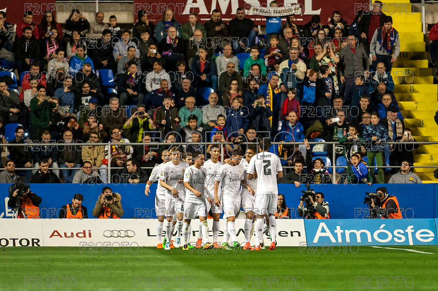 VALENCIA, SPAIN - MARCH 2: Madrid celebration a goal during BBVA League match between VLevante U.D. and R. Madrid at Ciudad de Valencia Stadium on March 2, 2015 in Valencia, Spain
