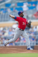 Buffalo Bisons starting pitcher Luis Santos (31) in action against the Durham Bulls at Durham Bulls Athletic Park on April 30, 2017 in Durham, North Carolina.  The Bisons defeated the Bulls 6-1.  (Brian Westerholt/Four Seam Images)