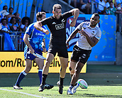 3rd February 2019, Spotless Stadium, Sydney, Australia; HSBC Sydney Rugby Sevens; New Zealand versus Fiji; Mens semi final; Kurt Baker of New Zealand celebrates his try as Vilimoni Botitu of Fiji looks on