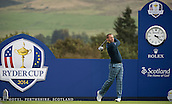 23.09.2014. Gleneagles, Auchterarder, Perthshire, Scotland.  The Ryder Cup.  Sergio Garcia (EUR) tees off on the 18th during his practice round.
