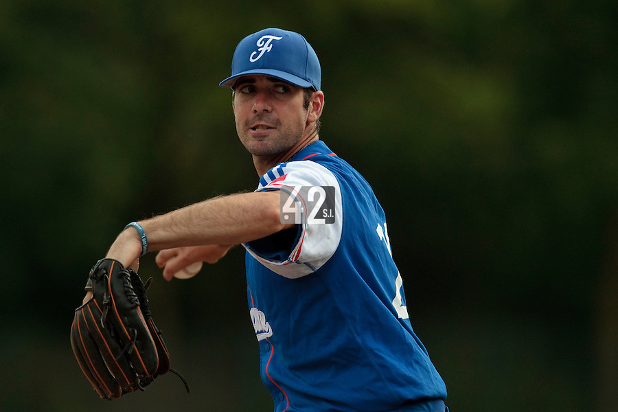 13 July 2010: Pierrick Le Mestre pitches against Team All Star Elite during day 1 of the Open de Rouen, an international tournament with Team France, Team Saint Martin, Team All Star Elite, at Stade Pierre Rolland, in Rouen, France.