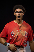 AZL Angels shortstop Jeremiah Jackson (8) between innings of an Arizona League game against the AZL Diamondbacks at Tempe Diablo Stadium on June 27, 2018 in Tempe, Arizona. AZL Angels defeated the AZL Diamondbacks 5-3. (Zachary Lucy/Four Seam Images)