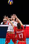 13.09.2019, Paleis 12, BrŸssel / Bruessel<br />Volleyball, Europameisterschaft, Belgien (BEL) vs. …sterreich / Oesterreich (AUT)<br /><br />Angriff Anton Menner (#6 AUT) - Block Tomas Rousseaux (#17 BEL)<br /><br />  Foto © nordphoto / Kurth