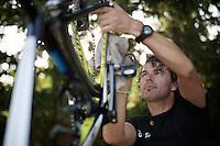 post-race cleaning at Team Orica-GreenEDGE<br /> <br /> 2014 Tour de France<br /> stage 13: Saint-Etiènne - Chamrousse (197km)
