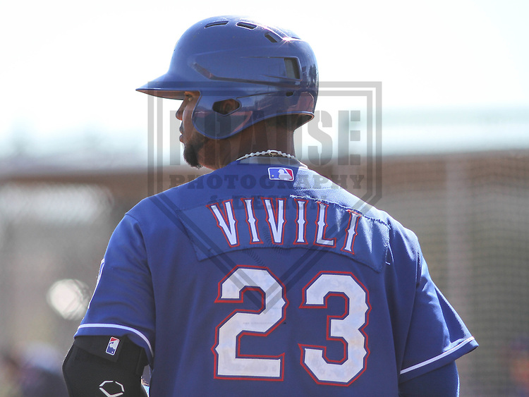 SURPRISE - March 2015: Fernando Vivili of the Texas Rangers during a spring training workout on March 15th, 2015 at Surprise Recreation Campus in Surprise, Arizona. (Photo Credit: Brad Krause)