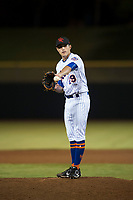 Scottsdale Scorpions relief pitcher Stephen Nogosek (29), of the New York Mets organization, waits to receive the ball back from the catcher during an Arizona Fall League game against the Mesa Solar Sox on October 9, 2018 at Scottsdale Stadium in Scottsdale, Arizona. The Solar Sox defeated the Scorpions 4-3. (Zachary Lucy/Four Seam Images)