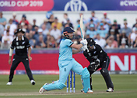 Jonny Bairstow (England) pulls behind square for four runs during England vs New Zealand, ICC World Cup Cricket at The Riverside Ground on 3rd July 2019
