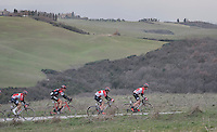Team Lotto-Soudal will be playing a big part in retrieving the early breakaway group (in service of team leader Tim Wellens)<br /> <br /> 11th Strade Bianche 2017