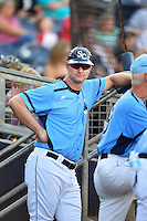 Charlotte Stone Crabs manager Jared Sandberg (22) in the dugout during a game against the Palm Beach Cardinals on April 12, 2014 at Charlotte Sports Park in Port Charlotte, Florida.  Palm Beach defeated Charlotte 6-2.  (Mike Janes/Four Seam Images)