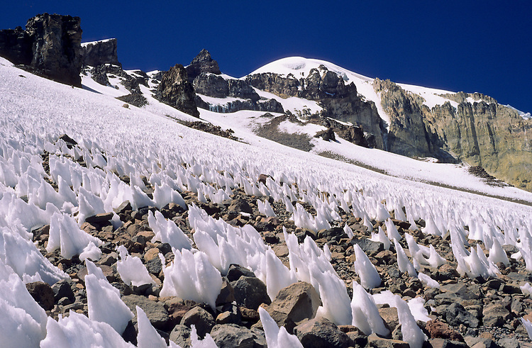 Snow penitentes underneath the Nevado Sajama (6549 m), Bolivia, 1999.