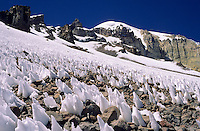 Snow penitentes underneath the Nevado Sajama (6549 m), Bolivia, 1999.