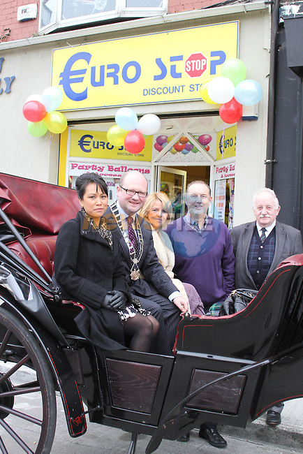 Mai Tham, Deputy Mayor Ged Nash, Betty McDonnell, The Cut Above, Gerard Gardiner of Waterfront Interiors and Donach Mac Raghnaill, Chairperson Drogheda Trade Unions at the Official Launch of the North Quay Retail Event...Picture Jenny Matthews/Newsfile.ie