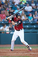 Sam Huff (27) of the Hickory Crawdads at bat against the Kannapolis Intimidators at L.P. Frans Stadium on July 20, 2018 in Hickory, North Carolina. The Crawdads defeated the Intimidators 4-1. (Brian Westerholt/Four Seam Images)